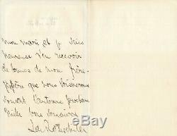 Leonora de ROTHSCHILD baronne Alphonse de Rothschild lettre autographe signée
