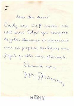 Lettre Autographe De Georges Brassens (1957 Avec 3 Photographie Dont Une Signée)