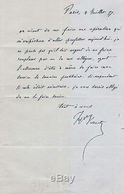 Lettre Autographe Signée De Horace Vernet (1857)