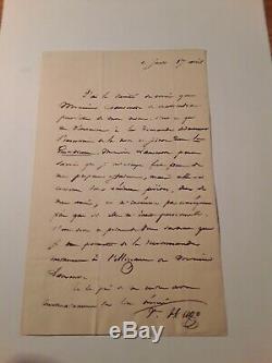 Lettre Autographe Signée De Victor Hugo