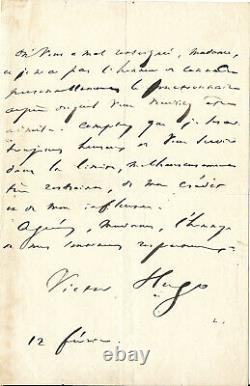 Lettre Autographe Signée de Victor Hugo Signature de belle qualité! A Voir