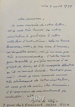 Lettre Autographe Signée-jean-marie Le Clézio-collection D'entretiens-nice-1977