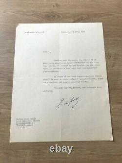 Lettre Courrier signée par le Général Charles de Gaulle à Anna MARLY Original