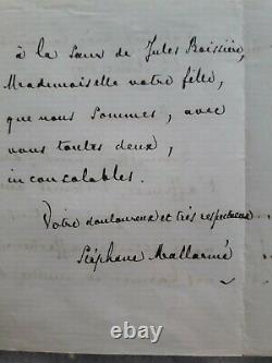 Lettre autographe écrite et signée par Stéphane Mallarmé