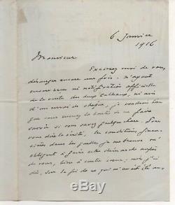 Lettre autographe signée Jacques Emile Blanche, 1916, achat par l'Etat et prêt
