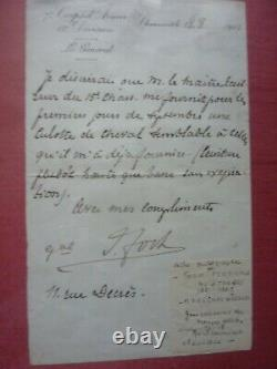 Lettre autographe signée Maréchal Foch