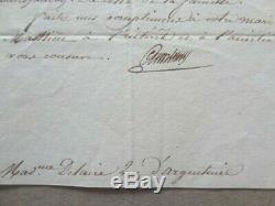 Lettre autographe signée de Cambacérès du 25 juin 1819 à caractère familial