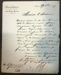 Lettre autographe signée du Général d'Empire Pierre Claude Pajol datée 1837