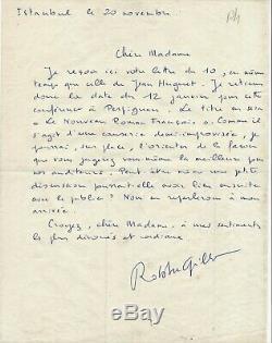 Littérature Alain ROBBE-GRILLET lettre autographe signée Istanbul Jean Hugnet