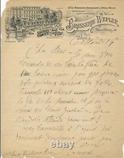 Littérature Ricciotto CANUDO lettre autographe signée Brasserie Wepler Fasquelle