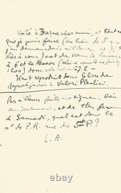 Louis ARAGON- Lettre autographe signée. Aragon vend un tableau de Georges Braque