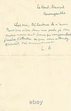 Louis ARAGON Lettre autographe signée. Honteux de navoir trouvé que si peu