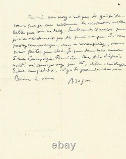Louis ARAGON Lettre autographe signée. Je nai exactement pas de quoi manger