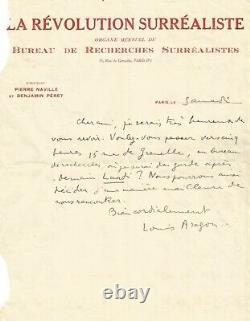 Louis ARAGON Lettre autographe signée. La Révolution Surréaliste