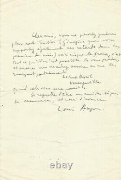 Louis ARAGON Lettre autographe signée. Un ami de si peu de ressources