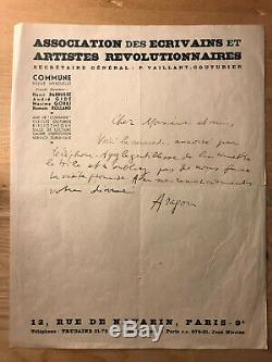 Louis Aragon Lettre autographe signée AEAR