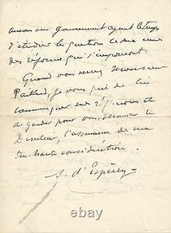 Louis FRANCHET DESPEREY / Lettre autographe signée sur les Colonies Françaises