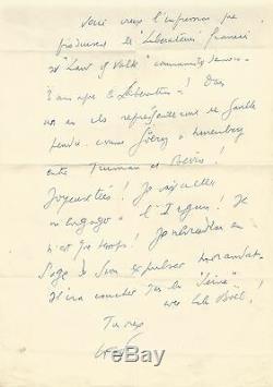 Louis-Ferdinand CELINE / Lettre autographe signée / Les libérateurs de 1945