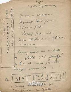 Louis Ferdinand CELINE Lettre autographe signée à Denoël. L'Ecole des Cadavres