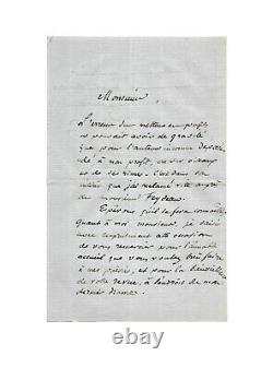 Louis-Hyacinthe BOUILHET / Lettre autographe signée / Poésie / Flaubert / Rouen