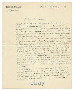 Louis PASTEUR / Lettre autographe signée / La Rage / Chiens / Enfant / Morsure