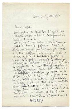 Louis PASTEUR / Lettre autographe signée inédite / Rage / Trépanation / Chiens
