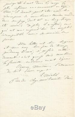 Louise MICHEL Lettre autographe signée à Eugène Pelletan