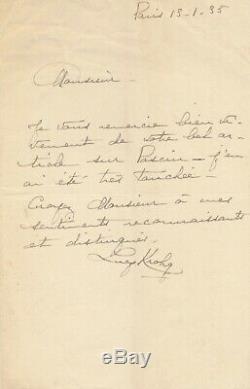 Lucie KROGH galeriste lettre autographe signée remerciements article Pascin