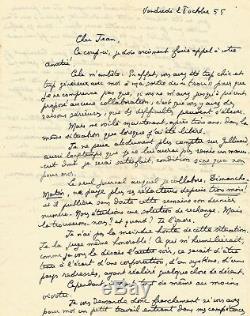 Lucien REBATET / Lettre autographe signée. Ses livres, la prison, Gallimard 1955