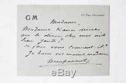 MAUPASSANT Carte-lettre autographe signée à la Comtesse Potocka 1883