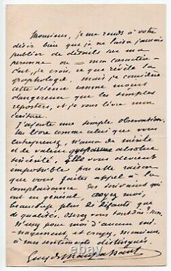 MAUPASSANT (Guy de) Belle lettre autographe signée