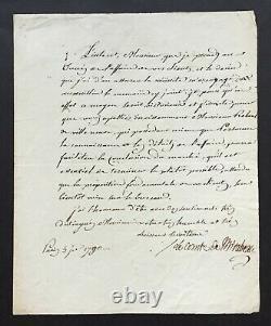 MIRABEAU Lettre signée concernant une affaire Letter signed 1790