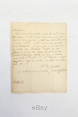 MUSSET Lettre autographe inédite signée Madame Jaubert MANUSCRIT AUTOGRAPHE 1839