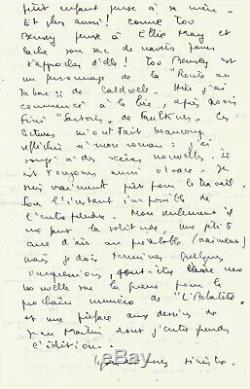Marc BARBEZAT Lettre autographe signée à propos de CAMUS, SARTRE et MODIGLIANI
