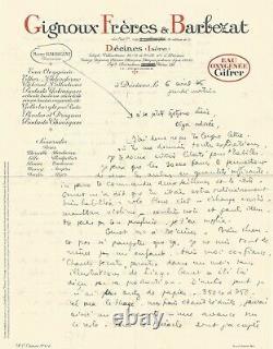 Marc BARBEZAT Lettre autographe signée à propos de Jean GENET. 1945