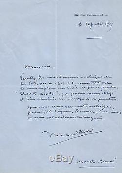 Marcel CARNE Ensemble de 3 lettres autographes signées sur A. Rimbaud et J. Genet