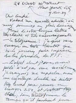 Marcel DUCHAMP 2 lettres autographes signées à A. BRETON Ready Made EROS