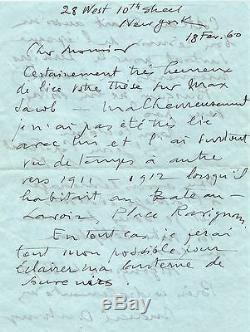 Marcel DUCHAMP Lettre autographe signée sur Max Jacob, le Bateau-Lavoir, Cocteau