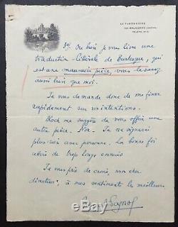 Marcel PAGNOL Lettre autographe signée + enveloppe 3 pages 1929