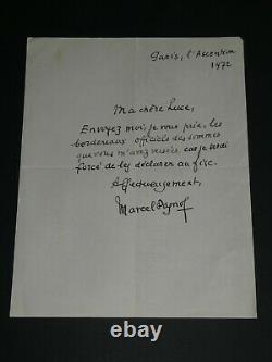 Marcel Pagnol Lettre Autographe Signee A Luce Fieschi Declaration Au Fisc 1972