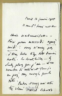 Marcel Schwob (1867-1905) Écrivain Lettre autographe signée Paris 1905