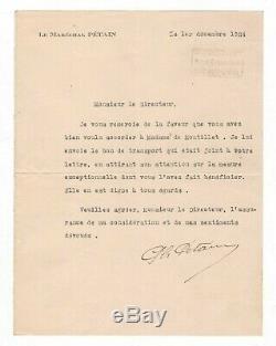Maréchal Pétain / Lettre Signée (1924) / Au Directeur Des Chemins De Fer