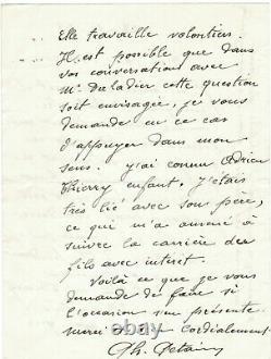 Marechal Philippe PETAIN. Lettre autographe signée a la veille de la guerre 1938