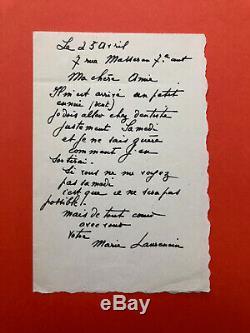 Marie LAURENCIN Lettre autographe signée