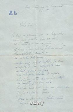 Marie LAURENCIN. Lettre autographe signée à Jean Royère
