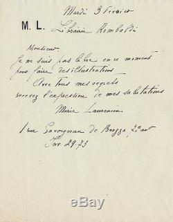 Marie LAURENCIN Lettre autographe signée à la librairie Lombardi