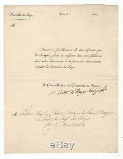 Marquis De Dreux Brézé / Lettre Signée (1814) / Décoration Du Lys / Royalisme