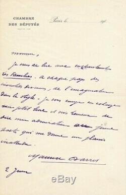 Maurice BARRÈS lettre autographe signée au poète Abel BONNARD Les Familiers