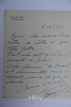 Maurice Chevalier Lettre Autographe Signee A Un Auteur 1952