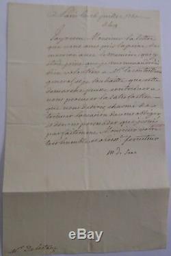 Maurice De Saxe Lettre Signee A M. De Lestang A Propos D'un Memoire 1750
